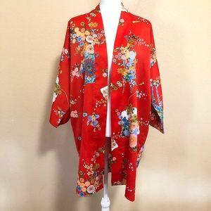 One Size Red Japanese Kimono Geisha Floral Print